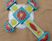 Tin Punch Cross  ~  Tin Cross in Turquoise, Lime Green and Red  ~  Traditional Tin Punch Cross  ~  Southwest Cross