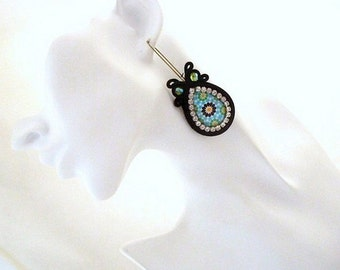 Everyday black boho chic earrings , morrocan tile inspiration , hoop earrings , bohemian earrings , long boho earrings , mosaic  jewelry