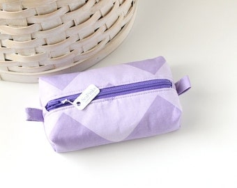 Small Boxy Pouch Purple Coin Purse Chevron Change Purse Zipper Pouch