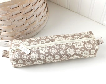 Snowflake Pencil Case Gray and White Boxy Pouch Cute Winter Snow Pencil Pouch Zipper Pouch