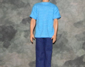 KEN1-22) Ken doll clothes, 1 blue t-shirt and blue jeans
