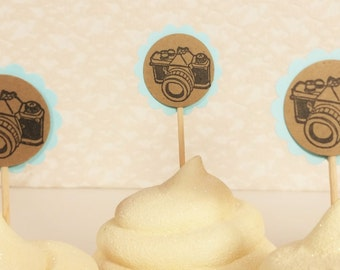 25 Camera Photography Mini Cupcake Toppers or Food Picks Wedding Birthday Party