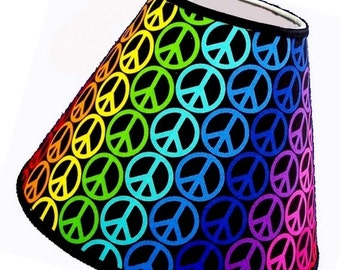 Valentines Day Sale Rainbow Peace Sign Print Lamp Shade