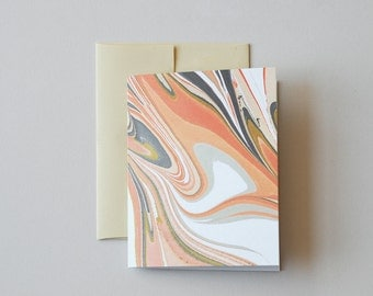 Marbled Notecard in Peach and Olive