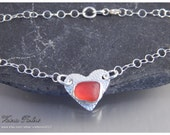 Red Sea Glass Anklet in Fine Silver on Sterling Silver Chain