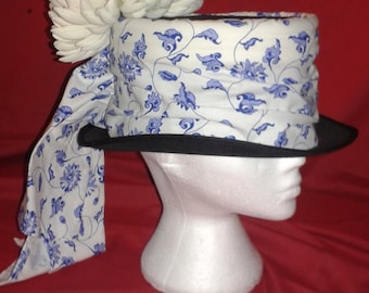 Steampunk  'Blue and White' Top Hat