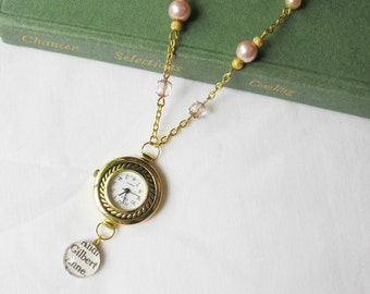 Anne of Green Gables Watch Necklace Shirley Gilbert Blythe Vintage Pink Pearls Crystal. Gold Jewelry Two Cheeky Monkeys Jewellery Handmade