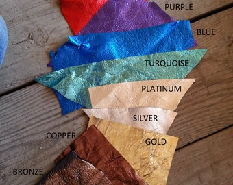 Metallic Pigskin Leather- Your Choice of Color- Ultra Soft Thin Leather