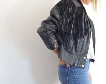 Tassel Jacket Vintage Black Leather
