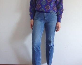 Sweater Vintage Printed Knit Loose