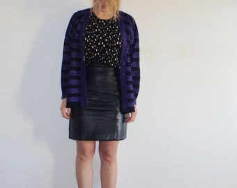 Cardigan Vintage Oversized Black Striped Purple