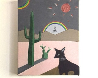Black Dogs and Rainbows // Original Acrylic Painting