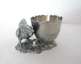Antique Hen Toothpick Holder, Engraved PICKS, Metal Figural Chicken Tooth Pick Holder