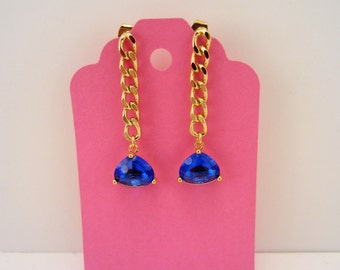 Blue and gold earrings. Royal blue rhinestones OR turquoise blue marble stones. Dangle earrings. Bridesmaid earrings, bridesmaid jewelry.
