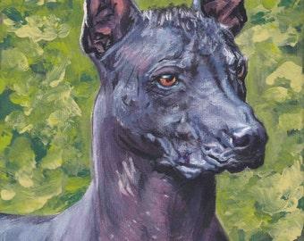 "standard Mexican Hairless dog art Xoloitzcuintli xolo CANVAS print of LAShepard painting 8x10"""
