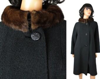 Mink Collar Coat L Vintage 60s Brown Fur Black Wool Boucle Long Winter Jacket Free US Shipping
