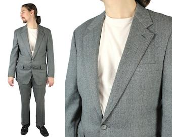 Vintage 2 Two Piece Suit 38R 33x31 Gray Herringbone Wool Pants Blazer Jacket Free US Shipping