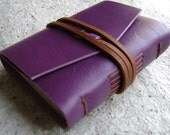 "Pocket leather journal, 3""x 4"", purple, handmade leather journal (2116)"