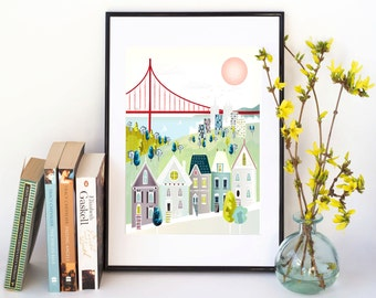 San Francisco Art Print, San Francisco illustration, San Fran print, California Cityscape, Home Decor, Gift for her, Gift for Mum