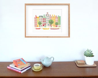 Amsterdam Canal boats Art Print, Dutch Skyline, Poster Cityscape Illustration, For Children, Childs room, Living room, and Nursery