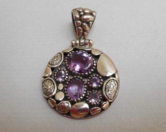 Unique Sterling Silver Pendant five Amethyst gemstones / silver 925 / Bali handmade jewelry / 1.65 inch long