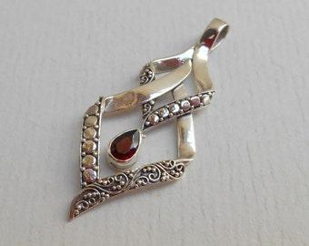 Sterling Silver garnet gemstone pendant / silver 925 / handmade jewelry / 1.75 inch long