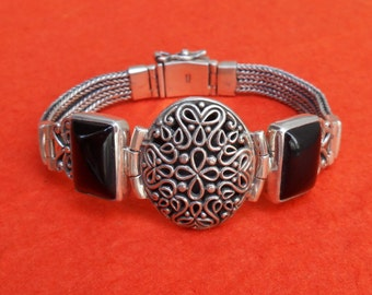 Watch style sterling Silver black onyx bracelet / silver 925 / genuine gemstones / Bali jewelry