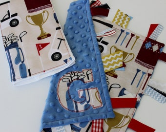 taggie, blanket, burp cloth, baby, boy, gift, set, personalized, golf, minky, ribbon, sensory, blue, lovey