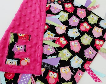 Taggie, blanket, baby, gift, ribbon, minky, lovey, pink, tags, owls, girl, sensory, personalized