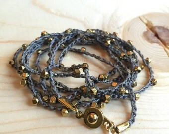 Beaded Crochet Wrap Bracelet or Necklace