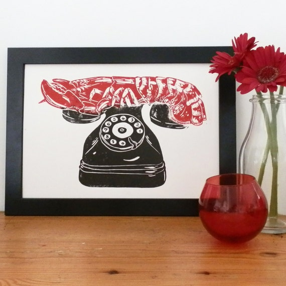 Dali Lobster Phone Lino Print - Linocut, Surrealist Print, Retro Telephone, Salvador Dali, Modern Art Print, Contemporary Art Print