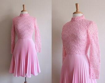 1960s Dress / Vintage Bubble Gum Pink Lace Dress