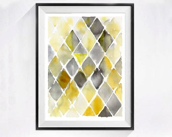 Abstract Watercolor Art Print Mid century modern Geometric diamond artwork Yellow color field poster zig zag wall decor