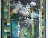 Fiber Art, Green Floral Wall Hanging, Art Quilt, non-traditional quilt, collage art, fiber collage, Textile art