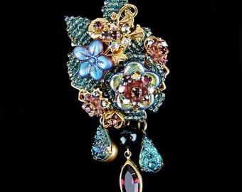 Stanley Hagler Ian St Gielar Blue Amethyst Floral Brooch