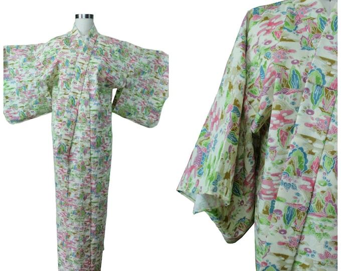 Vintage Japanese Kimono / Authentic Vintage Kimono / Festival Kimono / Spring Summer Pastel Kimono / Festival Floral Print Kimono / Pastoral