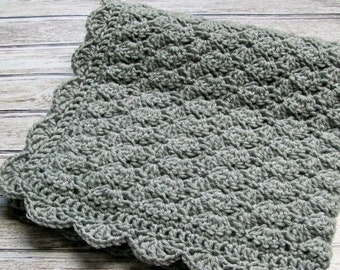 Gray Baby Blanket Car Seat Stroller Crib Silver Grey Afghan Boy Girl Gender Neutral Crochet Handmade Gift Shower Homecoming Photo Prop