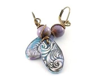 Purple and Blue Earrings - Polymer Clay Earrings -  Boho Earrings - Artisan Earrings -Swirl - Purple Earrings - Lightweight Earrings - AE150