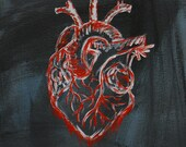I Don't Need This - From the Series Petals - anatomically correct heart, realistic heart, broken hearted, sad, red, gray - 8x8x2 inches