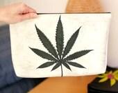 """Large Marijuana Leaf Clutch - Black Cannabis Leaf on White/Gray Vegan Leather, 12""""w x 7.5""""h - """"Amsterdamsel"""""""