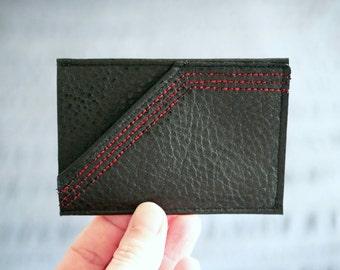 Minimalist Men's Wallet / Card Case : Black Vegan Leather w/ Red Stitching