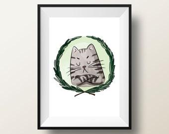 5x7 Unhappy cat Print