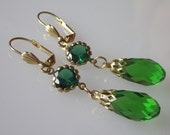 Green Crystal Earrings, Emerald Green Rhinestone, Crystal Briolette, Elegant Jewelry Crystal Teardrop, Glass Chandelier Earrings