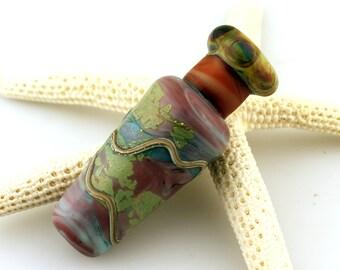 Lampwork Glass Bead, Vase, Vessel, Rustic Primitive, Urn Focal Etched Matte Purple, Green, Blue, Raku, Sheila Davis SRA Artist