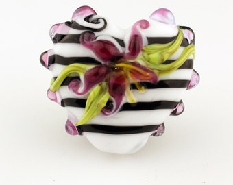 Black and White Lampwork Glass Bead Heart Focal  Valentine Pendant with Pink Lilies