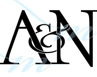 Intertwining Ampersand Monogram - A&N (instant download - JPG, PSD, PDF)