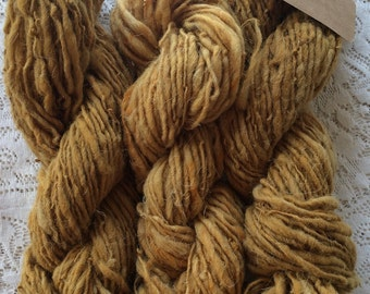 Yarn, Handspun, New Mexican Navajo Churro Wool, Plant Dyed, Single Ply, Worsted Weight, Cota