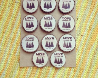 100 Rustic Pine Tree Love Magnets