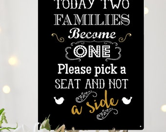 Pick a seat not a side vintage Wedding sign A4 metal vintage chalkboard style wedding decoration