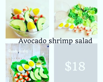 Pretend Felt food  How to make Avocado shrimp salad